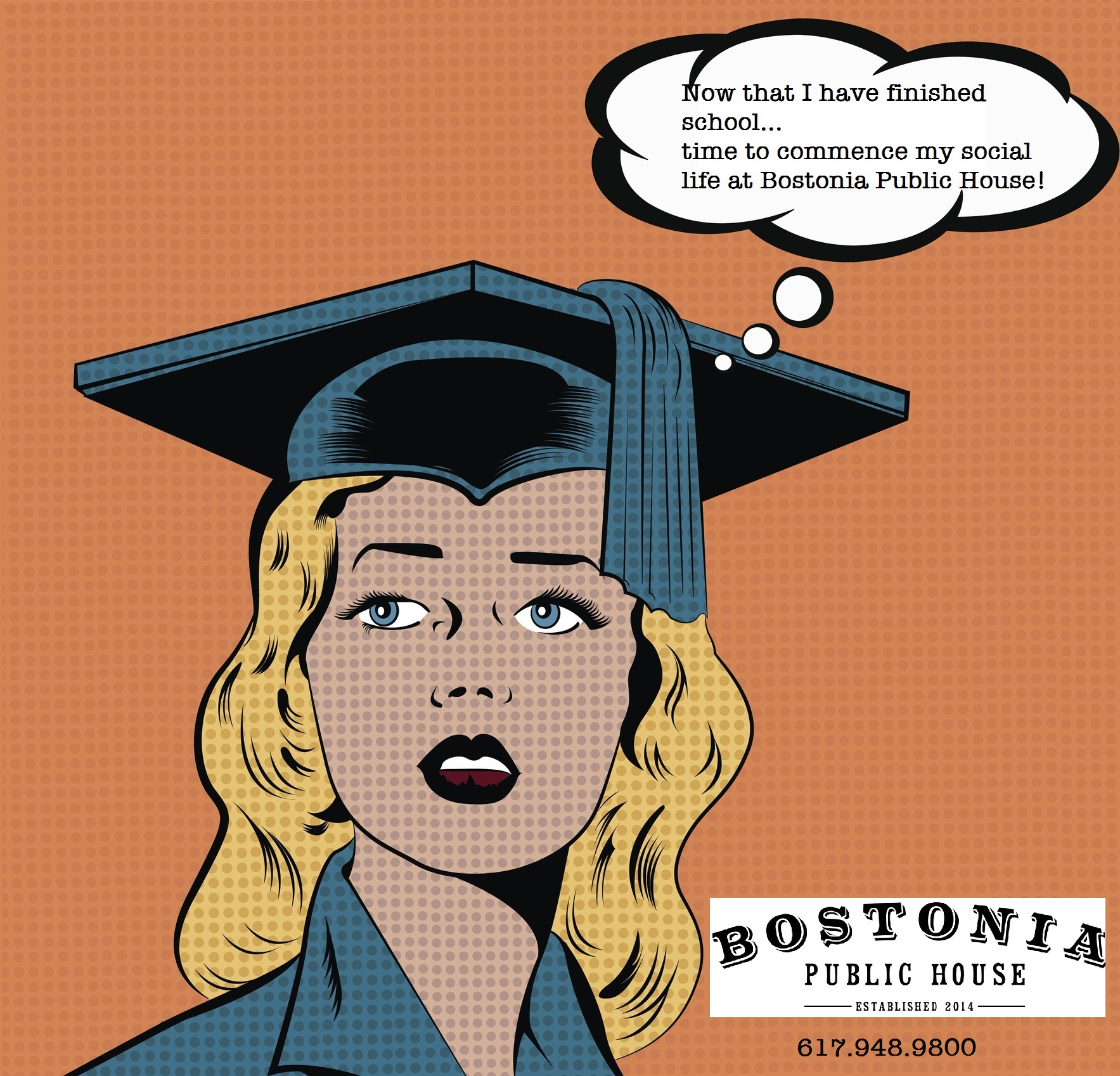 Illustration of a young woman in graduation gown - Bostonia Public House